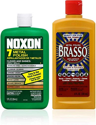 Brasso Cleaner Bundle: Brasso Metal Polish (8oz) and Noxon 7 Liquid Metal Polish (12oz) 1 ea