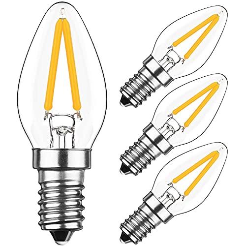 Bombillas LED tipo candelabro 2W E12 C7 (4pcs) Bombillas LED de filamento 20W Equivalente a 2700K Blanco cálido Forma de vela de vidrio transparente Bombillas Luz de noche pequeña de tornillo Edison