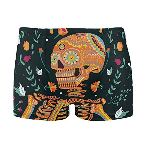Herren Boxer Bademode Day of the Dead Skull Floral Sexy Badehose Bikini Board Surf Shorts Boxer Badeanzüge S Gr. 56, mehrfarbig