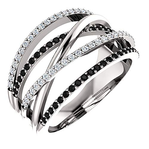 925 Sterling Silver Shiny Black Gem Ring Cubic Zirconia Rings CZ Diamond Multi Row Ring Eternity Engagement Wedding Band Ring for Women (US Code 8)