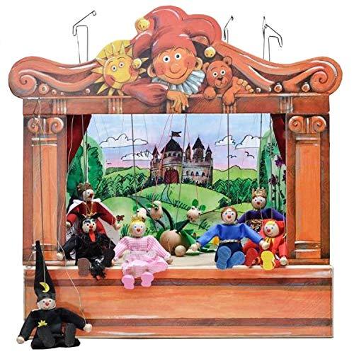 ABA Teatro de muñecas de madera con 8 muñecas y 4 escenarios, históricamente inspirado