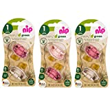 nip® Öko-Schnuller Schnuller CHERRY® Green Gr.1 ab Geburt, Multi-pack for Girls 0-6 Monate, 6er Pack