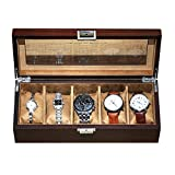 DFJU Caja de Reloj Vitrina de Reloj de Madera para Hombres 5 Relojes con Tapa de Cristal, Reloj de Regalo de cumpleaños para Padres