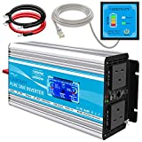 CARRYBATT 1500W Pure Sine Wave Power Inverter DC 24V to AC 230V 240V LCD display Converter With Remote Control, dual AC outlets,Dual cooling fans &1 USB Port for RV Truck Car