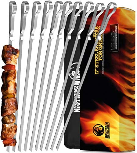 Mountain Grillers BBQ Grilling Kabob Skewers 17 Stainless Steel Long Reusable Flat Metal Barbecue product image