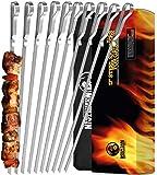 "Mountain Grillers BBQ Grilling Kabob Skewers - 17"" Stainless Steel - Long Reusable Flat Metal - Barbecue Shish Kebab Sticks – Set of 10 w/Handy Storage Bag"