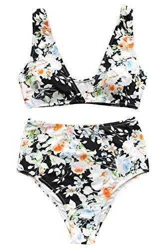 CUPSHE Women's High Waisted Push Up Bikini Set Mist and Noct Print Swimwear Small
