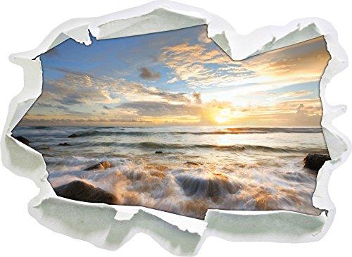 Sonnenuntergang am Meer, Papier 3D-Wandsticker Format: 92x67 cm Wanddekoration 3D-Wandaufkleber Wandtattoo