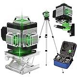 Niveau Laser 360° Vert 4D 16 Lignes,KKnoon Laser Chantier 3° Auto-nivelant, avec Batterie et Support Rotatif, Support de Trépied de Barre d'extension d'alliage 1,5 m 3 Hauteurs Réglables et Sac