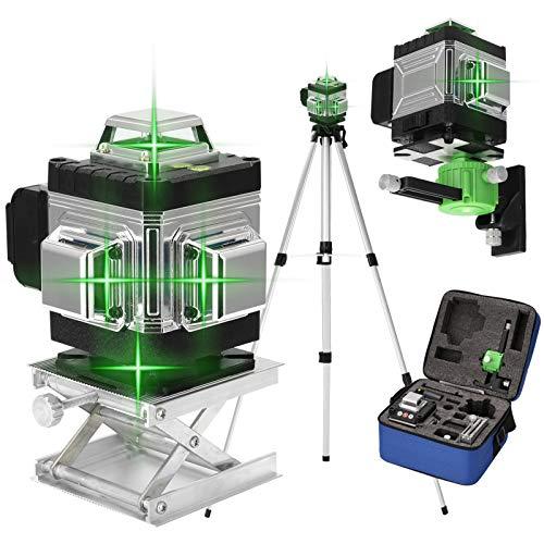 4D 16 líneas Nivel láser horizontal vertical KKmoon Multifuncional 3 ° Nivelador laser autonivelante con 1,5M 3 alturas Barra de extensión de aleación ajustable Soporte para trípode