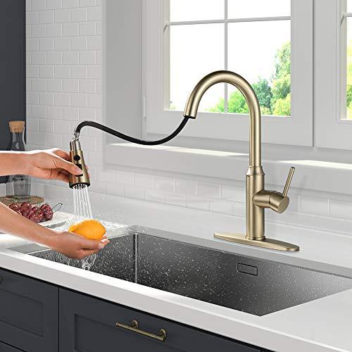 Gold Kitchen Faucet with Sprayer,Single Handle Kitchen Sink Faucet with Pull Out Sprayer, Champagne Bronze,Arofa