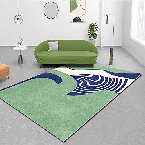 Kunsen La alfombras Duradera Lavable La Alfombras Alfombra de habitación de niños de diseño de Graffiti Simple Verde Azul Crema Suave Sofá La alfombras 180 * 250cm
