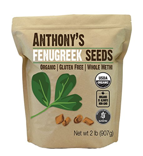 Anthony's Organic Fenugreek Seeds, 2lbs, Whole Methi Seeds, Gluten Free, Non GMO, Non Irradiated