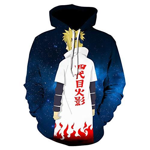 Anime Harajuku - Sudadera con capucha para adulto, diseño de Naruto con estampado en 3D, manga larga, Hip Hop Streetwear, Color07, XS