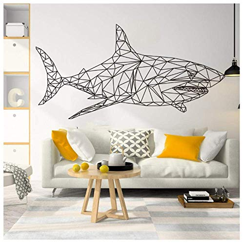 Geometric Shark Fish Ocean Wall Sticker Baby Nursery Children'S Room Large Cartoon Shark Fish In Ocean Animal Wall Decal Vinyl 85X43Cm