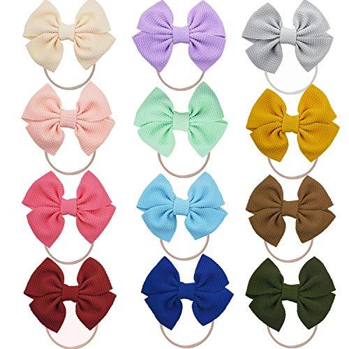 GUIFIER 12 Stück Nylon Baby Stirnband mit Schleife Haarband Baby Stirnbänder Baby Mädchen Weiche Headwraps Turban Bogen verknotete Kopfbänder Haarbänder für Neugeborenes Kleinkind Babys Kinder