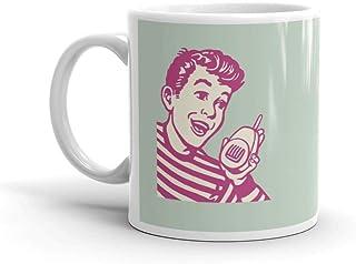 Boy Talking Into A Walkie Talkie Funny Cute Mug Ceramic 11 oz Cup