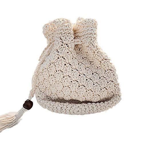 Thumby dames handtassen cross body tassen handgemaakt etnische stijl katoen woven tassen vrouwelijke emmer tassen schouder omgangen handtassen strandtassen 19 * 20 * 14 cm schouderriem 123 cm