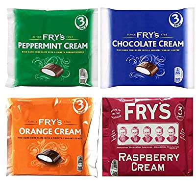fry's selection box – fry's chocolate cream, fry's orange cream, fry's peppermint cream and fry's raspberry cream – 3 bars of each flavour – 12 bars in total – suitable for vegetarians Fry's Selection Box – Fry's Chocolate Cream, Fry's Orange Cream, Fry's Peppermint Cream and Fry's Raspberry Cream – 3… 518A szBY8L