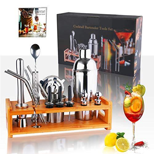 Yoassi Cocktail Shaker Set aus Edelstahl, 15 Teiliges Cocktailshaker Bar Zubehör Set mit Bambus Ständer - 750ml