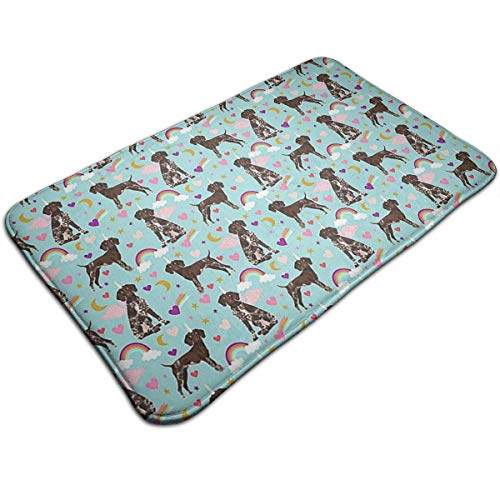 German Shorthaired Rainbows Unicorns Indoor/Outdoor Flat Made of 100% Polyester Extra Soft and Non Slip Area Rug for Bedroom, Kitchen, Living Room, Office, Playroom 40x60 cm