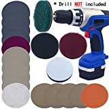 Car Headlights DIY Polishing Kit Cloudy Lights Taillights Fog Lights Polishing Headlight Restoration Kit for Electric Drill, 3' Scouring Pads + High-Precision Waterproof Sanding Discs, Total 20PCS