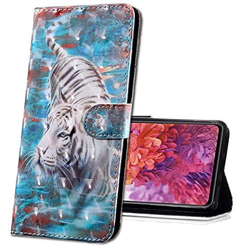 MRSTER Moto E6 Plus Handytasche, Leder Schutzhülle Brieftasche Hülle Flip Hülle 3D Muster Cover mit Kartenfach Magnet Tasche Handyhüllen für Motorola Moto E6 Plus. BX 3D White Tiger