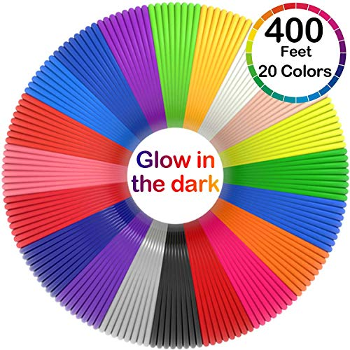 3D Pen Filament 400 Feet 20 Colors, Glow in The Dark Refills PLA Bonus 250 Stencil eBook - 3D Pen Filament 1.75mm for Tecboss Levin MYNT3D etc(Does Not Fit 3Doodler)…
