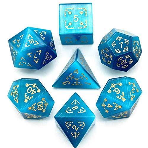 Dados de piedras semipreciosas de ojo de gato azul. Mazmorras y dragones, DND D & D. Kit caótico
