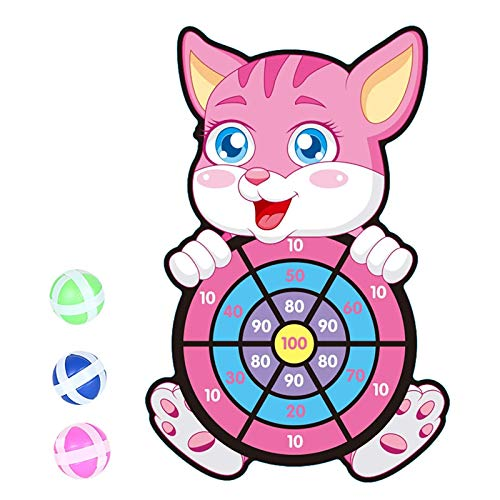PHLPS Cartoon Dart Board Games, Large Board Games for Kids, Double-Sided Dart Board With Hook & 3 Sticky Balls, Safety Darts for Birthday Party Indoor Outdoor Family Games (Color : D)