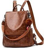 Anti-robo Mujer Mochila de Cuero de pu mochila de Bolsa de mano Mochilas Casual Bolsa de viaje Messenger Bag Backpack (marrón)