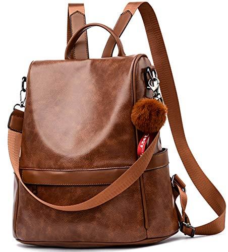 Damen Soft PU Leder Rucksack Handtasche Schultertasche All in One Multifunktions Anti Diebstahl Tasche Wasserdichte Rucksack (Braun)
