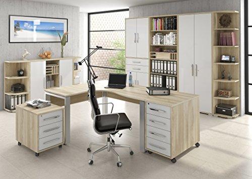 Büromöbel MAJA System - komplettes Arbeitszimmer in Edelbuche / Weiß Hochglanz 10-teilig
