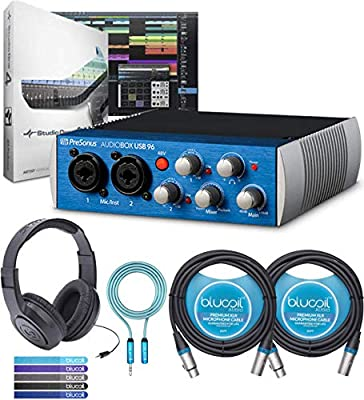 PreSonus AudioBox USB 96 2x2 Audio Interface Bundle with Studio One Artist, Studio Magic Plug-in Suite, Samson SR350 Headphones, Blucoil 2x 10' XLR Cables, 6' 3.5mm Extension Cable, and 5x Cable Ties by Blucoil