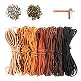 Mostfun Juego de 7 cadenas de cuero de 5 m x 3 mm para manualidades, pulseras, collares, joyas, artesanía, cuerda de piel, joyas, manualidades, set de manualidades