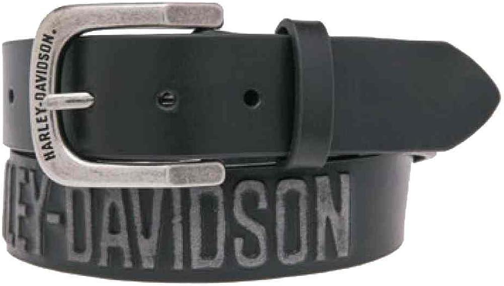 Harley-Davidson Men's Embossed Highway To Hell Leather Belt, Black HDMBT10853BLK