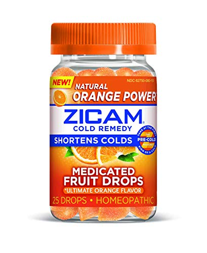 ZICAM Cold Remedy Ultimate Orange Fruit Drops, Homeopathic Medicine for Shortening Colds, 25 Count