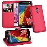 Cadorabo Hülle für Motorola Moto G2 - Hülle in Karmin ROT – Handyhülle mit Kartenfach & Standfunktion - Hülle Cover Schutzhülle Etui Tasche Book Klapp Style