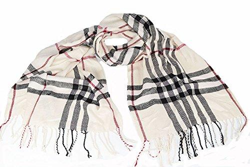 Grande et douce écharpe à motif écossais, châle à carreaux crème 175 x 95 cm