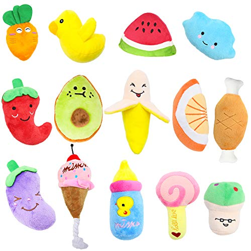 Stuffed Dog Toy, 14 Pack Dog Squeaky Plush Toys Cute Small Dog Puppy Toys Fruits Snacks Vegetables Squeaky Puppy Dog Chew Toys for Puppies Small Medium Dogs Pet