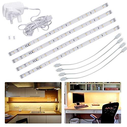 Luces LED para debajo de la cocina, armarios, barras de luz conectables para estanterías, armarios, vitrinas, mesita de noche, debajo del mostrador, color blanco cálido, 4 x 30 cm
