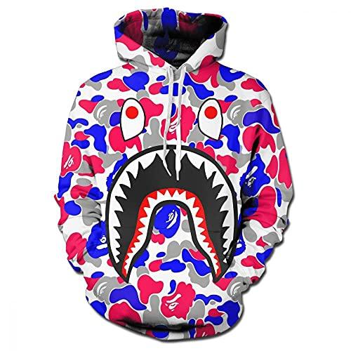2021 New Shark Head Camuflaje Camisa con Capucha Hombres Y Mujeres Zipper Cardigan Camuflaje De Manga Larga Suéter(3XL, Red)