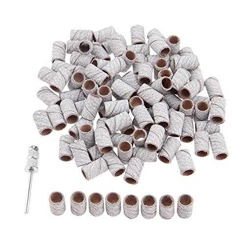 100 piezas de brocas de lijado de tambor de 6,3 mm + 1 mandril de banda de pulido de vástago de 2,35 para metales, maderas para accesorios Dremel, grano F