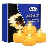 AGPtek Las 24 Velas LED a Pilas Incorporadas, Blanca Fría, con Temporizador, Sin Fuego, Velas Electrónicas Decorativas para Bodas Fiestas
