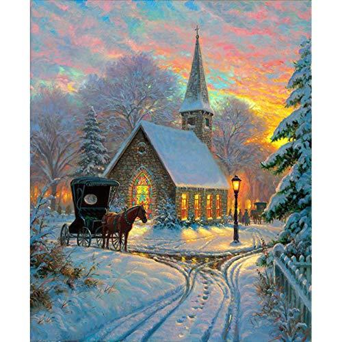 DIOPN 5D DIY Diamond Painting painting paard in sneeuw landschap boom huis diamant borduurwerk volledige ronde mozaïek strass kerstdecoratie (ronde diamant 30 * 40) 40 * 50