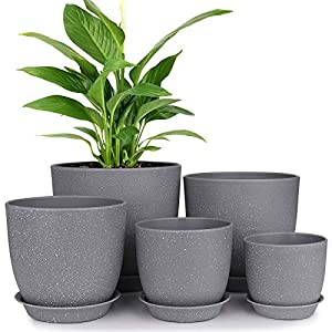 Plastic Planter, HOMENOTE 7/6/5.5/4.8/4.5 Inch Flower Pot Indoor Modern Decorative Plant Pots with Drain Hole and Saucer for All House Plants, Succulents, Flowers, Speckled Gray