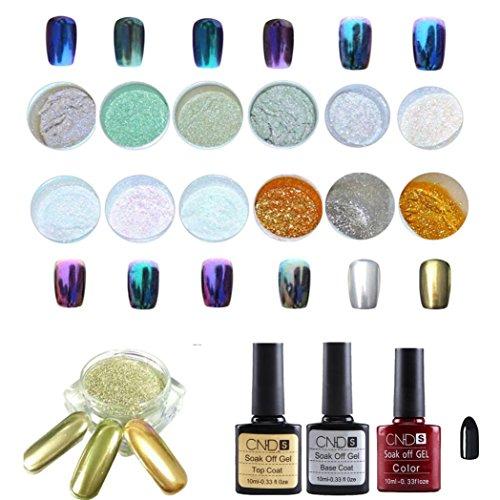 Covermason 12 Colors Nail Art Shinning Mirror Glitter Powder Chrome Pigment+Black UV Gel+Top Coat+Base Coat