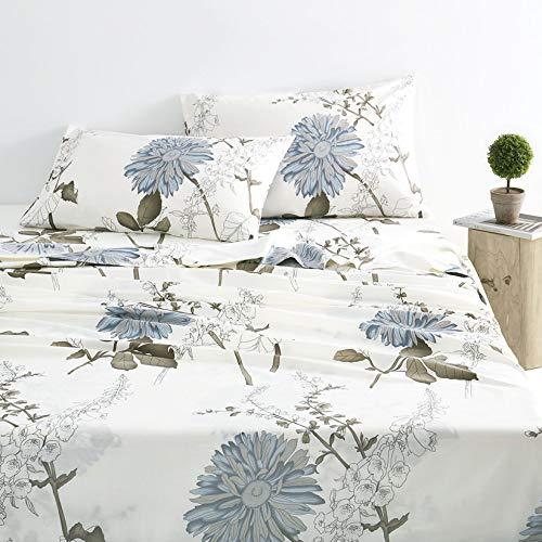 Wake In Cloud - Floral Sheet Set, 100% Cotton Bedding, Botanical Flowers Pattern Printed (4pcs, Full Size)