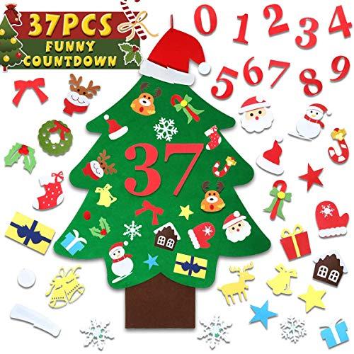 SAFETYON Árbol de Navidad de Fieltro - 37PCS, Niños Regalo, DIY Decoración para Árbol de Navidad de Cafetería Hotel Casa