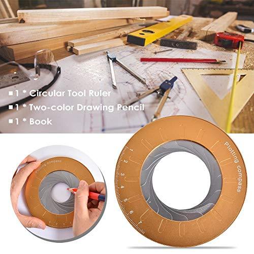 Chen0-super Herramienta de Dibujo de círculo, Herramienta de Dibujo de círculo Ajustable Herramienta de medición de Regla de Regla para Dibujar círculos, Trabajo de Torno